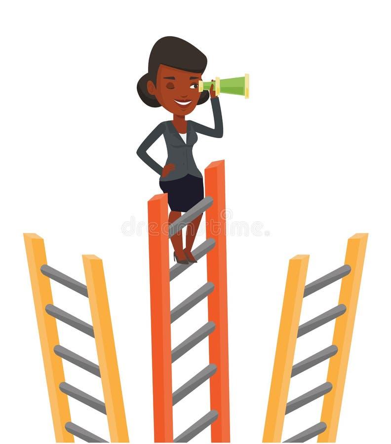 affärsaffärskvinna som ser tillfällen royaltyfri illustrationer