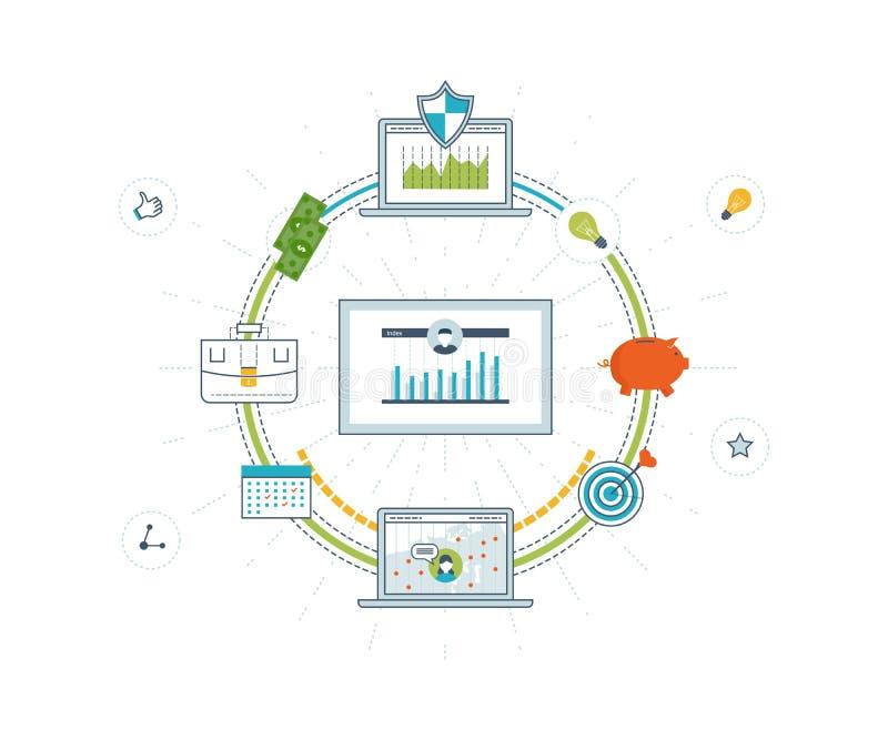 Affärsanalys, finansiell rapport och strategi royaltyfri illustrationer