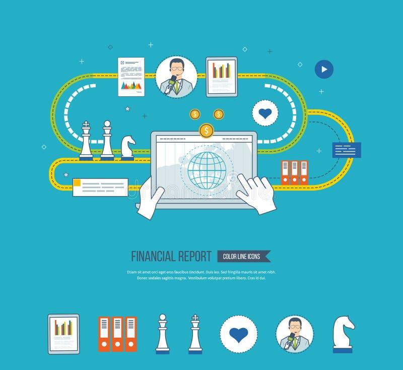 Affärsanalys, finansiell rapport och strategi vektor illustrationer