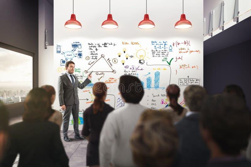 Affärsanalys i ett kontor framförande 3d royaltyfria foton
