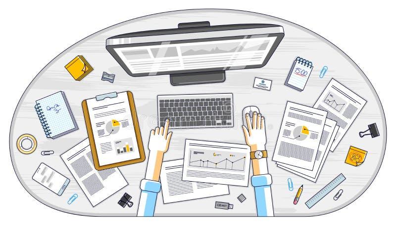Affärsanalys, kontorsarbetare eller entreprenöraffärsmanwor royaltyfri illustrationer