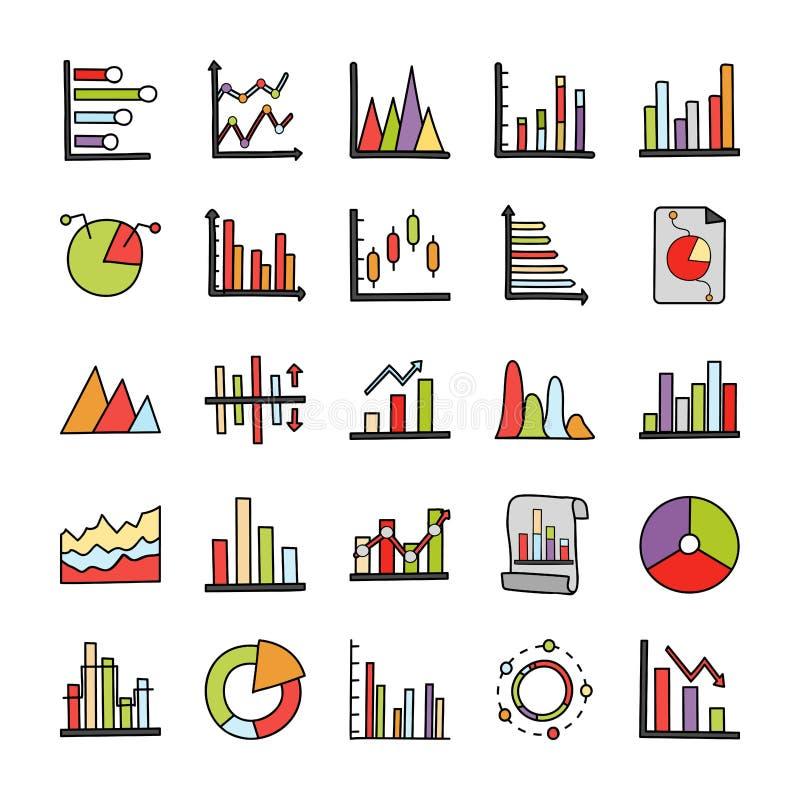 AffärsAnalytics klottrar symboler royaltyfri illustrationer