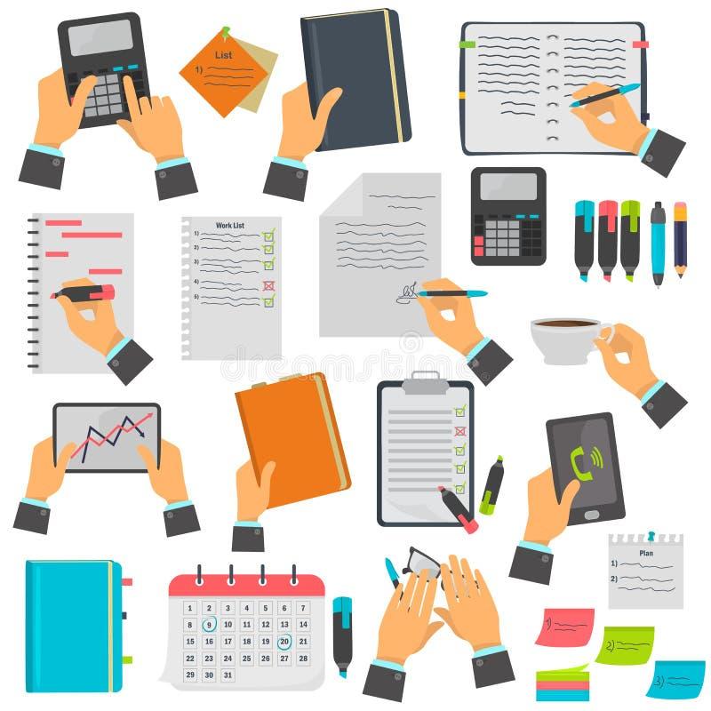 Affärsanmärkningar, kalendern, bråklistan, anteckningsboken, minnestavlafärgsymboler ställde in Olika affärsbehandligar som isole stock illustrationer