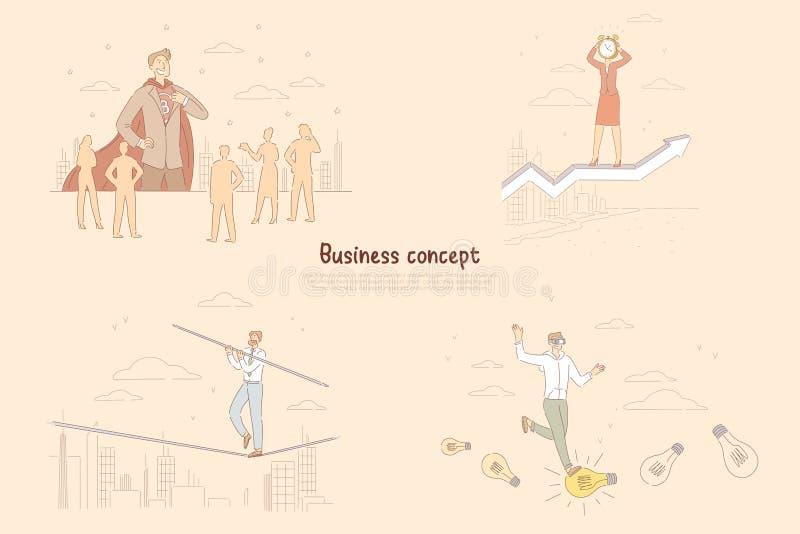 Affärsansvarmetafor, affärsman som övertygar aktieägare, balansera för spänd linadansare som frambringar idébanret royaltyfri illustrationer