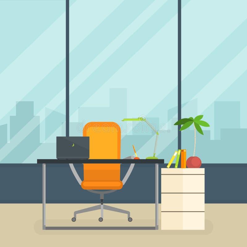 Affärsarbetsplats, modern inre av tomt kontorsrum med tabellen och fönstervektorillustration royaltyfri illustrationer