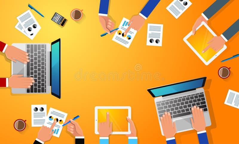 Affärsarbetsplatsen med folkhanden, koppen kaffe, den digitala minnestavlan, smartphonen, legitimationshandlingar och det olika k stock illustrationer