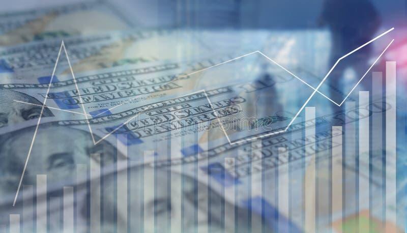 Affärsbakgrund av grafstatistik är tillväxt upp med den finansiella banken för US dollar royaltyfria foton