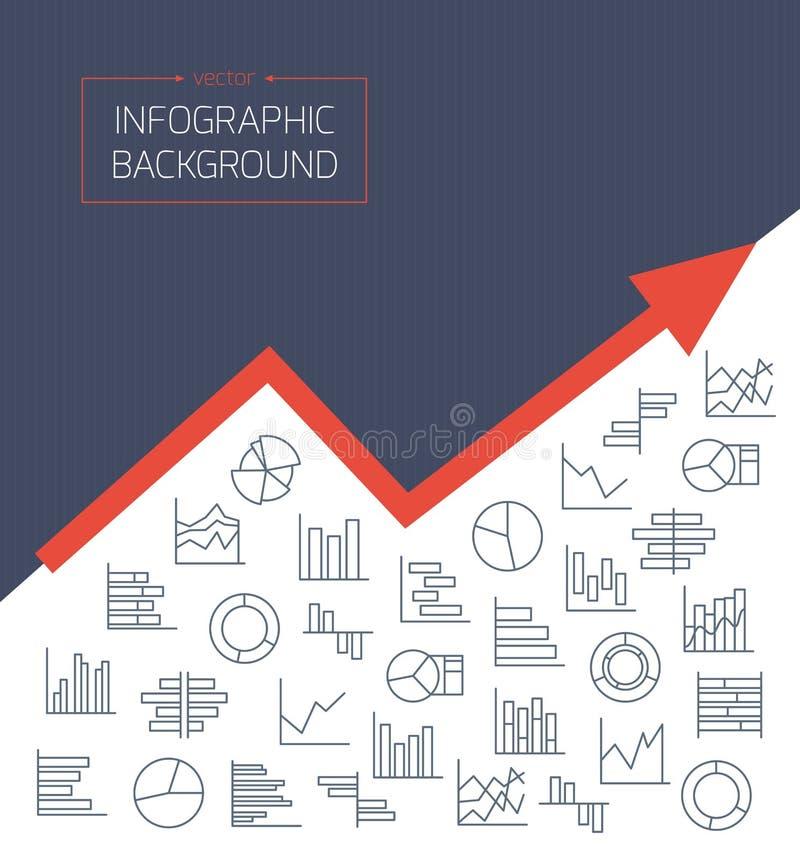 Affärsbakgrund med diagramsymboler i tunna linjer vektor illustrationer