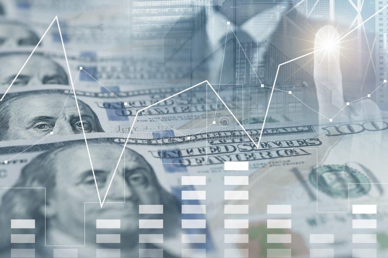 Affärsbakgrund med US dollarsedlar, affärsmannen och den ökande grafen royaltyfria foton