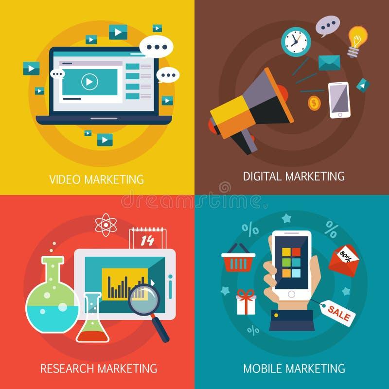 Affärsbaner, internet, mobil som är digital royaltyfri illustrationer