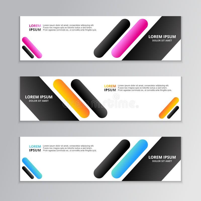 Affärsbanermall, orienteringsbakgrundsdesign, företags geometrisk rengöringsduktitelrad eller footer i lutningfärg vektor illustrationer