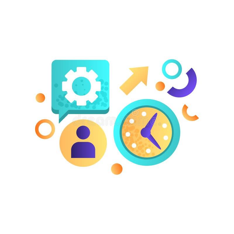 Affärsbeståndsdelar, kontorsutrustning, ledning, finans, strategi som marknadsför symbolvektorillustrationen på en vit vektor illustrationer