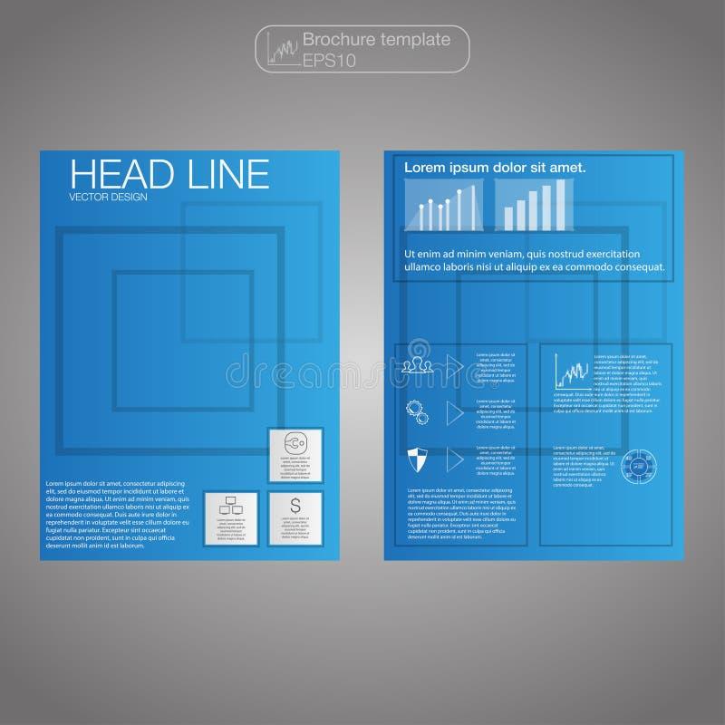 Affärsbroschyren, blått planlägger mallvektorn, orientering i formatet A4 royaltyfri illustrationer