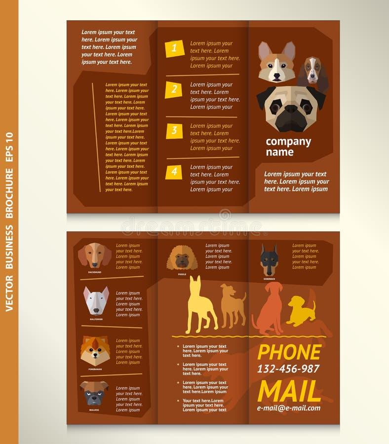 Affärsbroschyrmall med framsidan av hundkapplöpning, vektordesign royaltyfri illustrationer