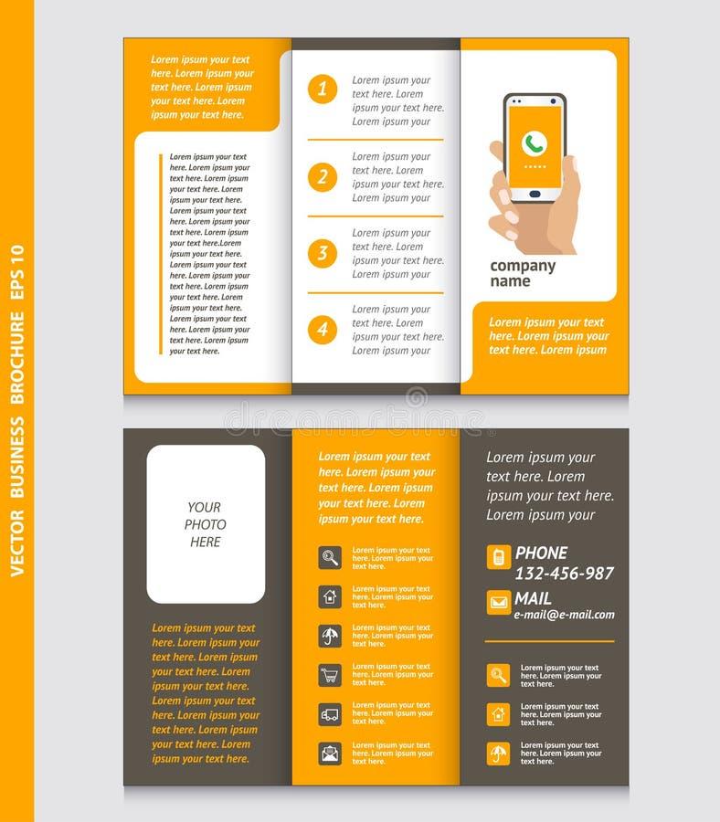 Affärsbroschyrmall med handen som rymmer en smart telefon, symbol royaltyfri illustrationer