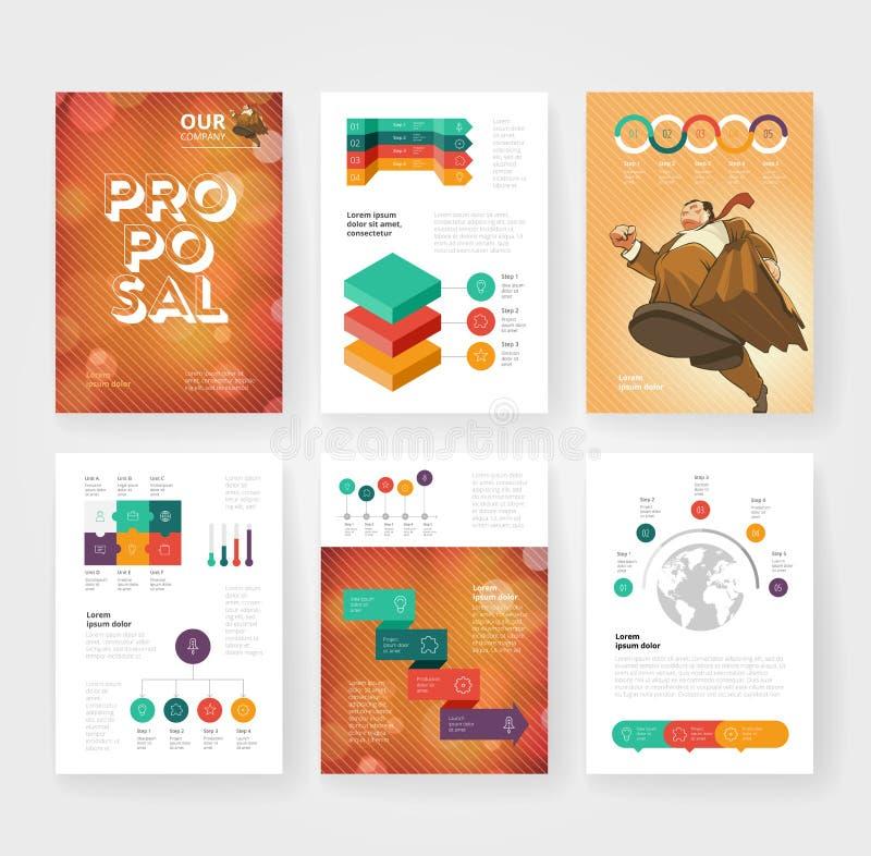 Affärsbroschyrmall med infographics stock illustrationer