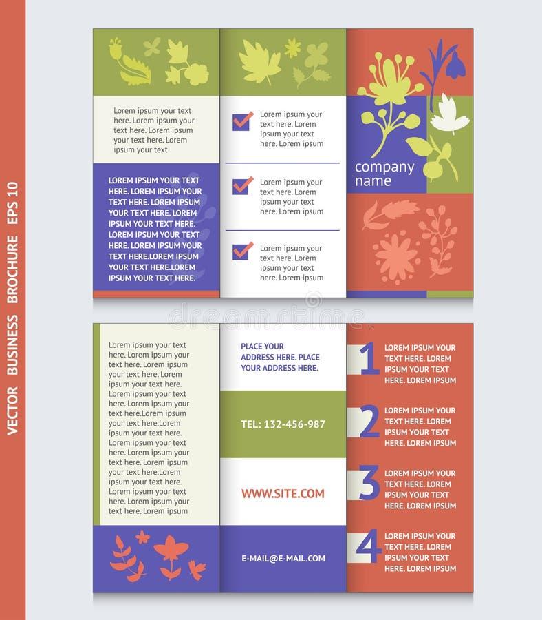 Affärsbroschyrmall med med blommasymboler och växter royaltyfri illustrationer