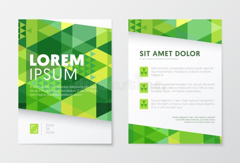Affärsbroschyrmallar i grön färg abstrakt designreklamblad Häfte för broschyrräkningspresentation stock illustrationer