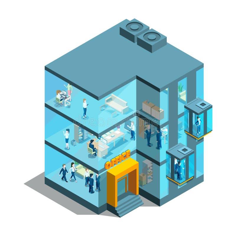 Affärsbyggnad med glass kontor och hissar Isometrisk arkitektonisk illustration för vektor 3d vektor illustrationer