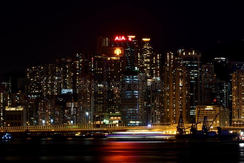 Affärsbyggnader bredvid Hong Kong Victoria härbärgerar, 2016 arkivbild