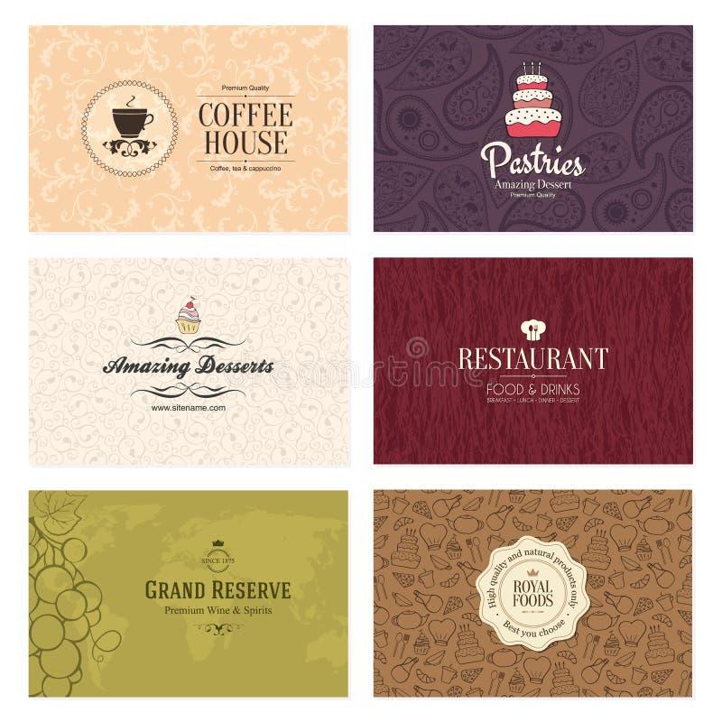 6 affärscafekort detailed restaurangseten stock illustrationer