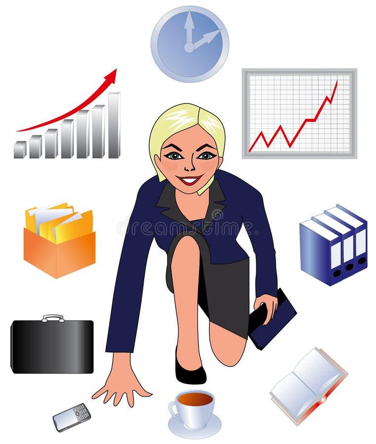 Affärsdamen, kvinnan på arbete, royaltyfri illustrationer