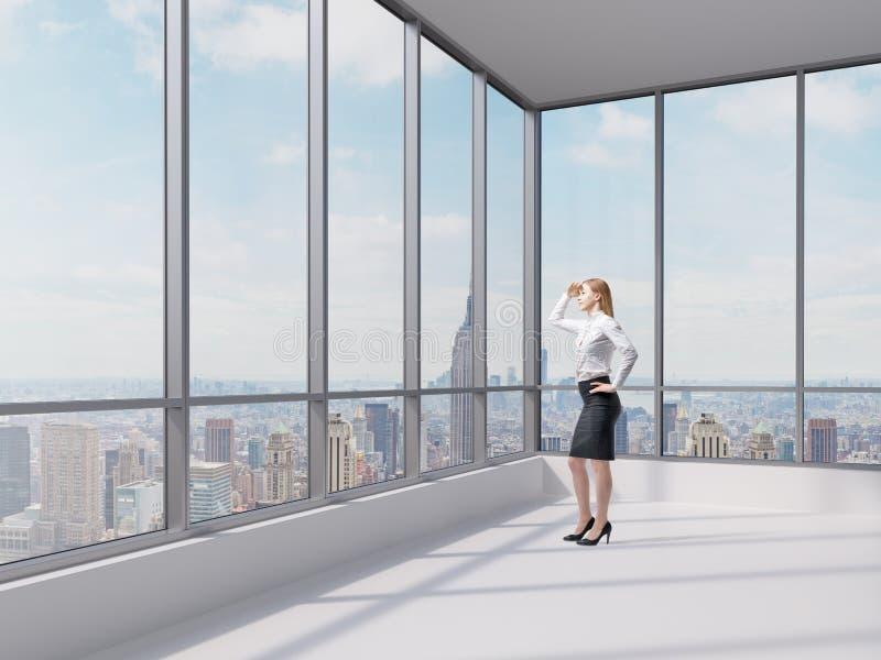 Affärsdamen ser det finansiella området i New York City royaltyfri fotografi