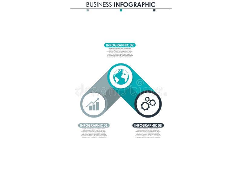 Affärsdata, diagram Abstrakta beståndsdelar av grafen, diagrammet med 3 moment, strategi, alternativ, delar eller processar vekto stock illustrationer