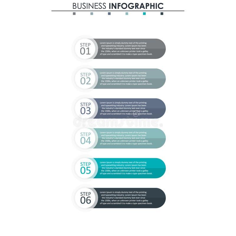 Affärsdata, diagram Abstrakta beståndsdelar av grafen, diagrammet med 6 moment, strategi, alternativ, delar eller processar vekto stock illustrationer