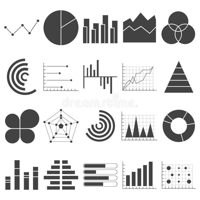 Affärsdata graphs symboler Finansiella och marknadsföringsdiagram Cirkeldiagram för stång för marknadsbeståndsdelprick diagrams o royaltyfri illustrationer