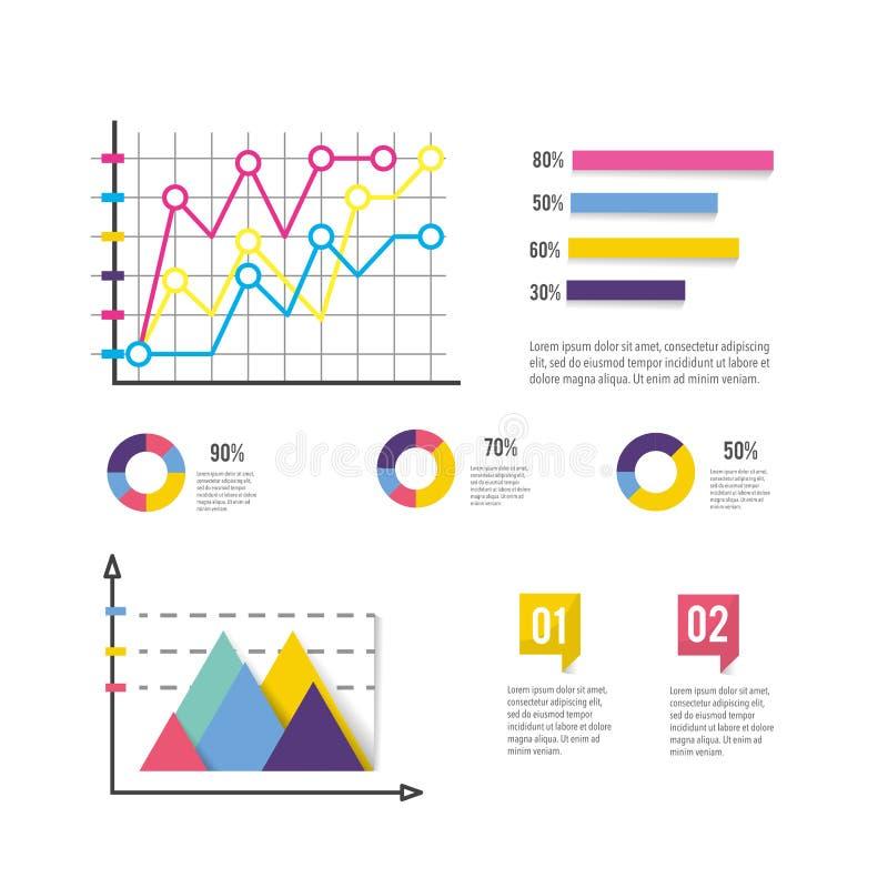 Affärsdiagram med den infographic informationsrapporten vektor illustrationer