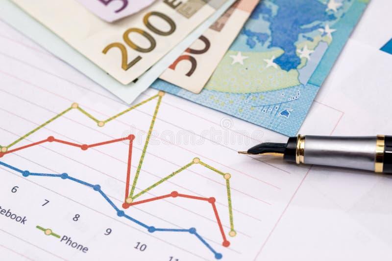 Affärsdiagram med euroanmärkningar arkivbild