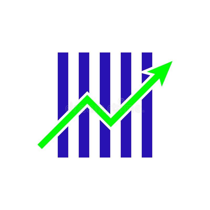 Affärsdiagram med symbolet för illustrationen för pilvektorsymbolen för din webbplats planlägger, logoen, app, UI Vektorillustrat stock illustrationer