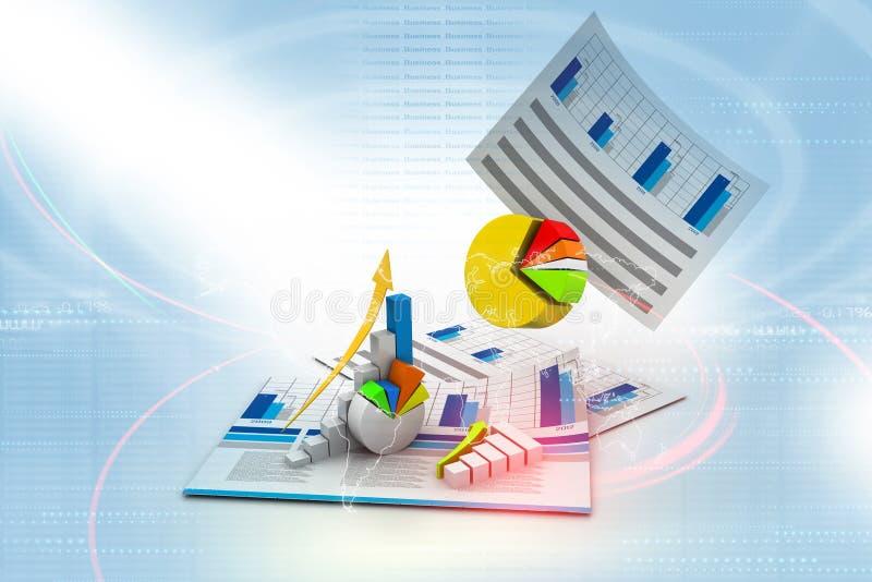 Affärsdiagram med tillväxtgrafen stock illustrationer