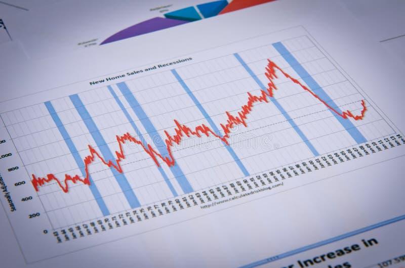 Affärsdiagram och grafer arkivfoto