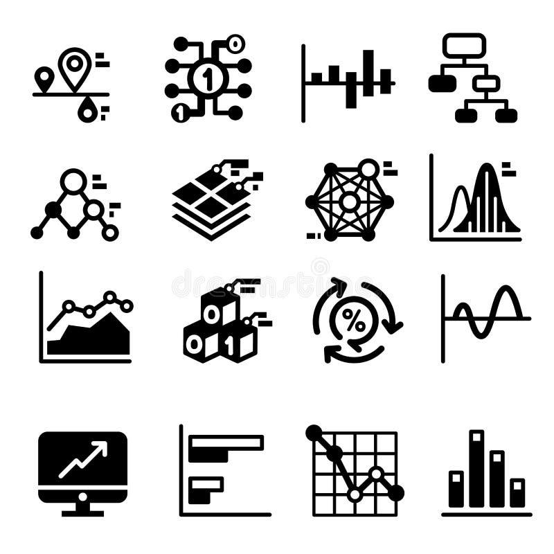 Affärsdiagram och grafsymbolsuppsättning stock illustrationer