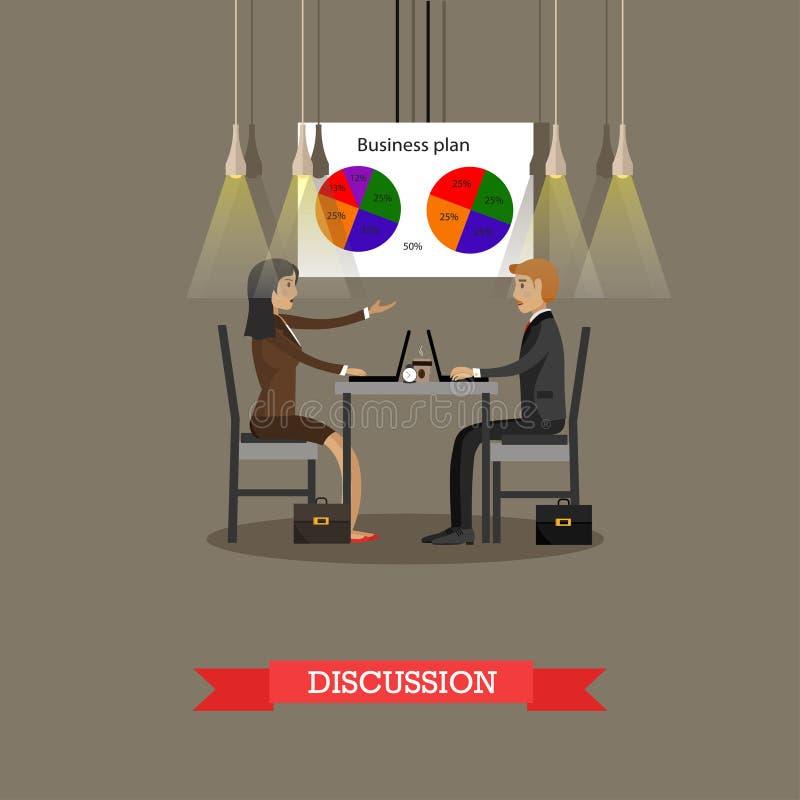 Affärsdiskussion i regeringsställning med finansiella cirkeldiagram på en vägg begreppsvektorillustration vektor illustrationer