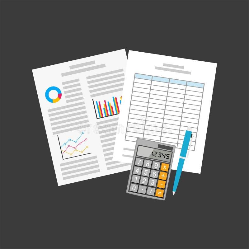 Affärsdokument räkneark professionell för kontor för affärsutrustning modern stock illustrationer