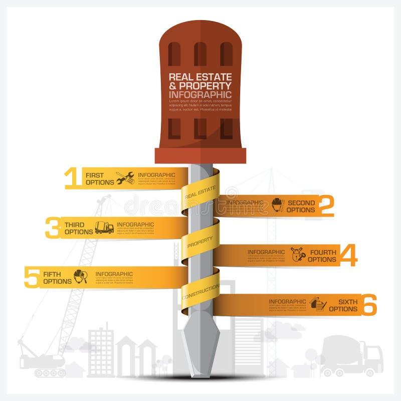 Affärsegenskap och Real Estate konstruktion Infographic med stock illustrationer