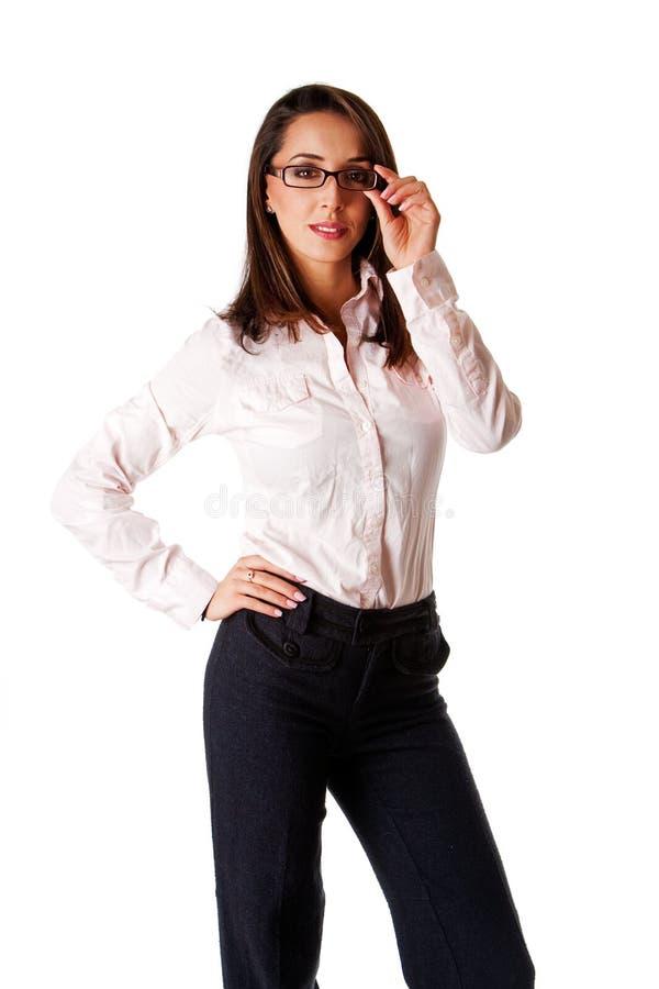 affärsexponeringsglaskvinna royaltyfria foton