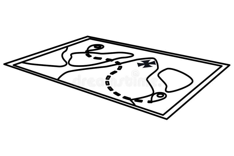 Affärsföretagöversikt med sjöar och destinationer i svartvitt stock illustrationer