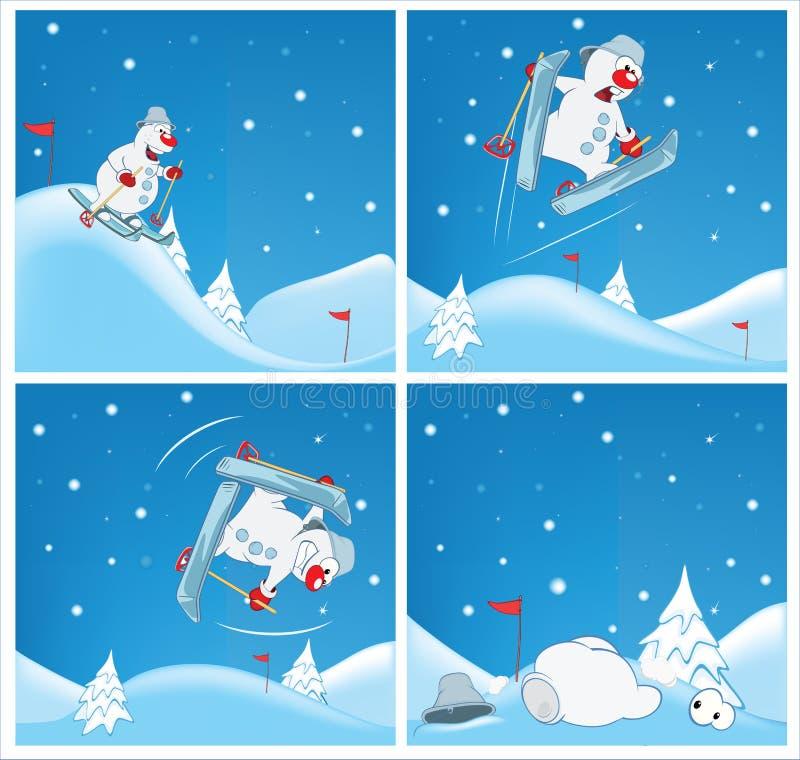Affärsföretag av en snögubbe Tecknade filmer och komiker för dig design royaltyfri illustrationer