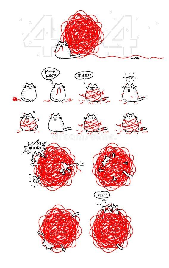 Affärsföretag av katten, en uppsättning för animering Fel 404 Katt och spole av ull Pottet spelar Vektorobjekt som isoleras på arkivfoton