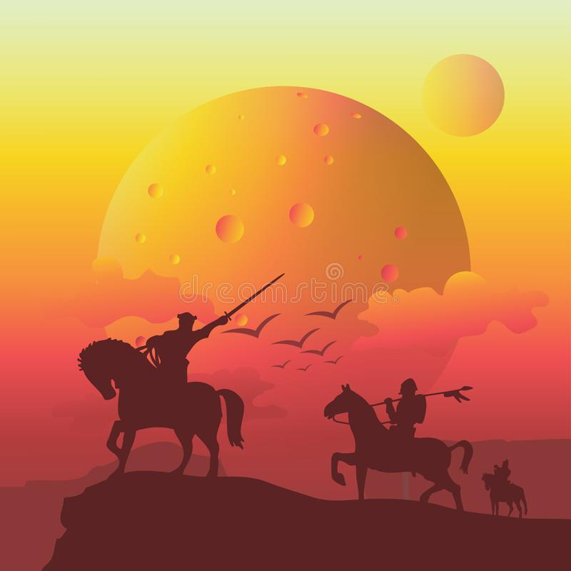 affärsföretag av soldatridninghästen på klippan stock illustrationer