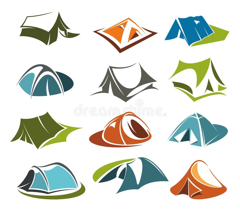 Affärsföretag för berg för plats för vektortältsymboler campa vektor illustrationer