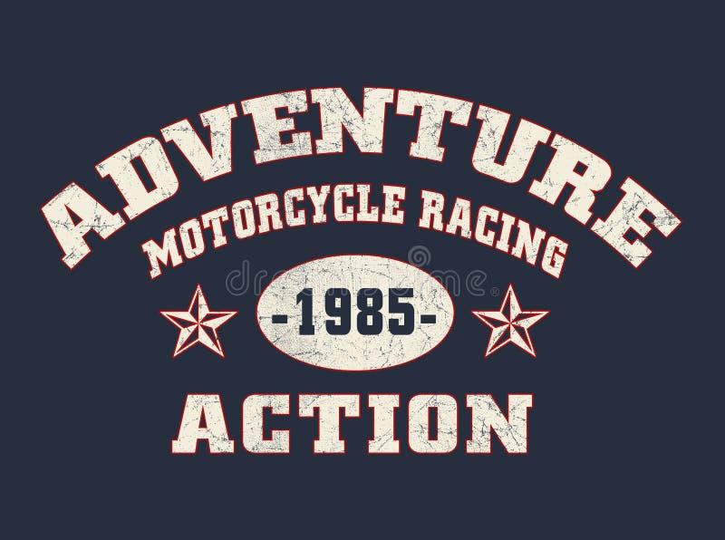 'affärsföretag, motorcykel som springer, handling'typografi, sportsliga utslagsplatsskjortadiagram vektor illustrationer
