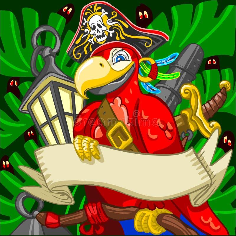 Affärsföretag Tid modiga Boatswain Corsair Parrot vektor illustrationer