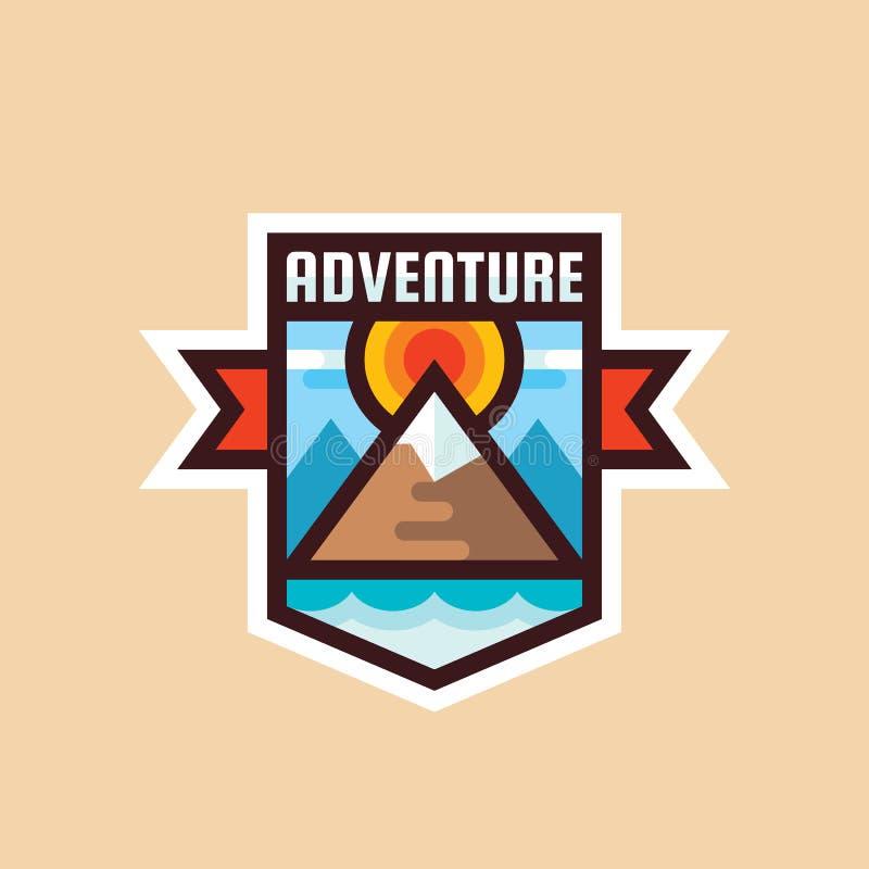 Affärsföretagberg - illustration för begreppsemblemvektor Idérik logo för expeditionutforskare i plan stil Utomhus- tecken för up stock illustrationer