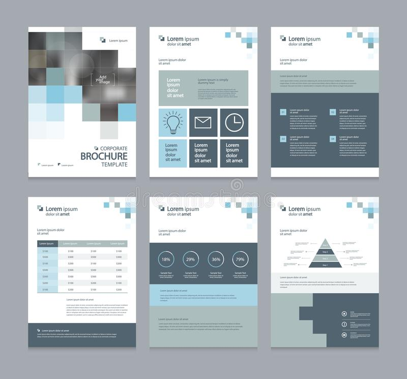 Affärsföretagsprofil, årsrapport, broschyr, reklamblad, presentationer, tidskrift och bokorienteringsmall, vektor illustrationer