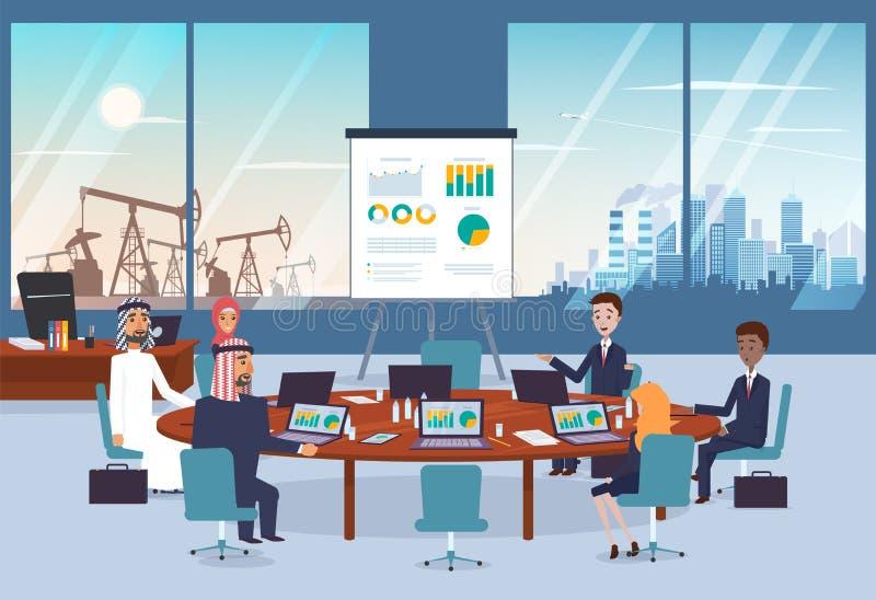 Affärsförhandlingar med araben blir partner med på mötet Cityscape och öken med den olje- pumpen på bakgrunden vektor illustrationer